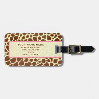 Giraffe Print & Pink Luggage Tag