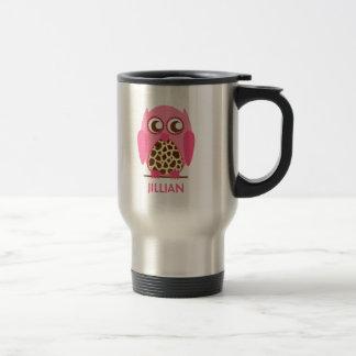 Giraffe Print Pink Owl Personalized Mug