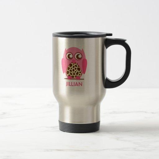 Giraffe Print & Pink Owl Personalized Mug