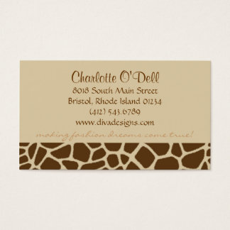 giraffe print tan business card