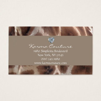 giraffe print w/ heart shaped diamond business card