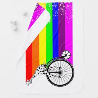 Giraffe Rainbow Bike Baby Blanket