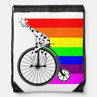 Giraffe Rainbow Bike Drawstring Bag