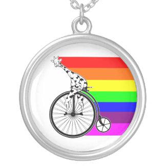 Giraffe Rainbow Bike Silver Plated Necklace