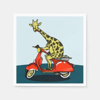 Giraffe riding a moped disposable serviette