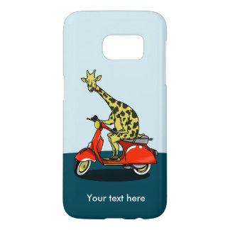 Giraffe riding a red moped