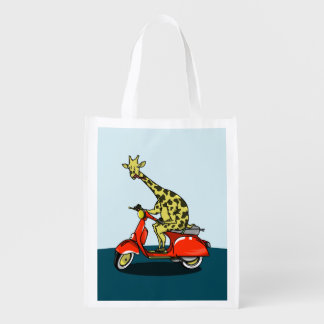 Giraffe riding a red scooter