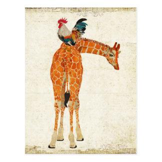 GIRAFFE & ROOSTER Postcard