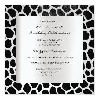 Giraffe Safari Animal Skin Black Silver Birthday 13 Cm X 13 Cm Square Invitation Card