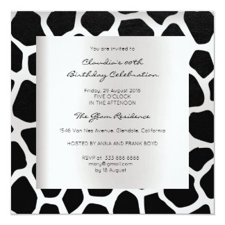 Giraffe Safari Animal Skin Black Silver Birthday Card