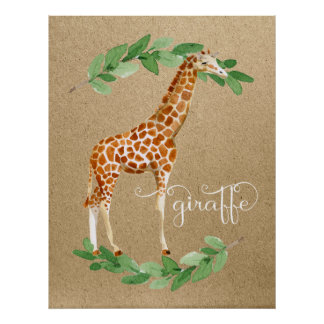 Giraffe Safari Gender Neutral Nursery Art Poster