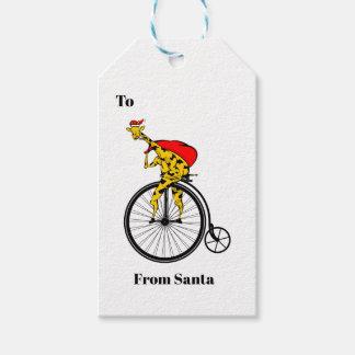 Giraffe Santa Claus Christmas Gift Tags