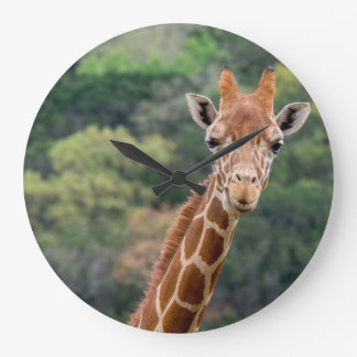 "Giraffe Says ""Cheese"" With a Big Smile Clock"