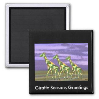 Giraffe Seasons Greetings Magnet