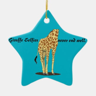 Giraffe Selfies Ceramic Ornament