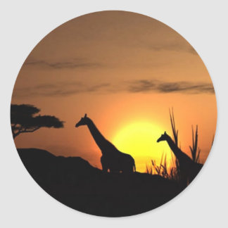 Giraffe Silhouette - Blank for your own message Round Sticker
