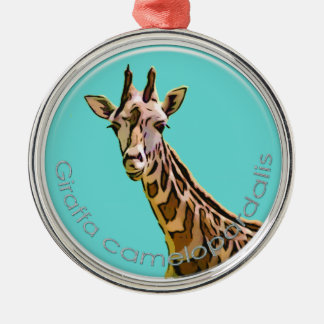 Giraffe Silver-Colored Round Decoration