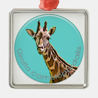 Giraffe Silver-Colored Square Decoration