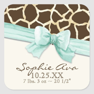 Giraffe Skin Pattern Ribbon n Bow Baby Girl Seals Square Sticker