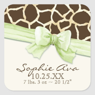 Giraffe Skin Pattern Ribbon n Bow Baby Girl Seals Sticker