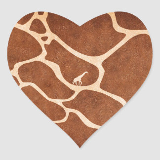Giraffe Skin Pattern Surface Stains Lines Heart Sticker