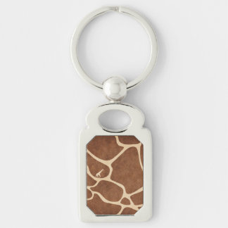 Giraffe Skin Pattern Surface Stains Lines Silver-Colored Rectangle Keychain