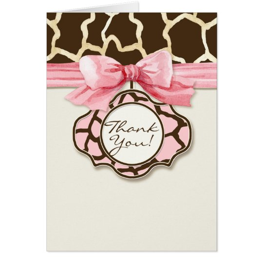 Giraffe Skin Pattern Thank You Baby Girl Photo Card