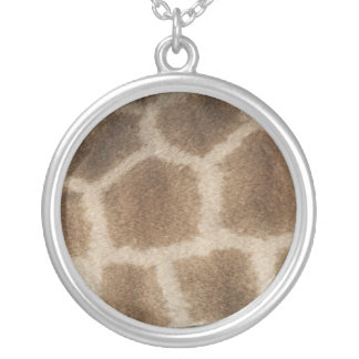 Giraffe skin with brown spots, photo from Africa Round Pendant Necklace