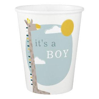 Giraffe Sky Modern Baby Shower - Boy Paper Cup