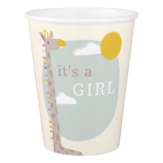 Giraffe Sky Modern Baby Shower - Girl Paper Cup