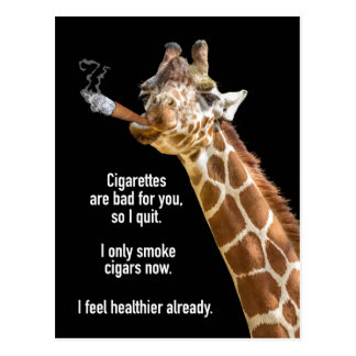 Giraffe Smoking Cigar Get Well Postcard