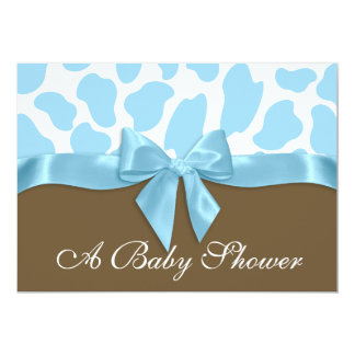 Giraffe Spots and Blue Bow Baby Shower Card