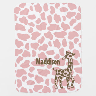 Giraffe Spots Pink and Brown Baby Blanket