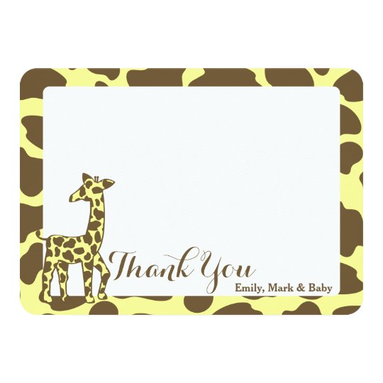 Giraffe Spots Thank You Flat Card