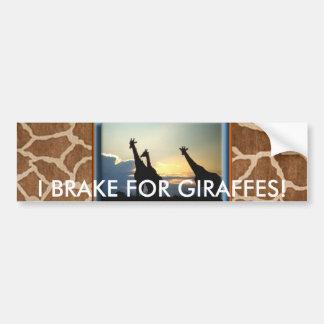 GIRAFFE SUNSET BUMPER STICKER