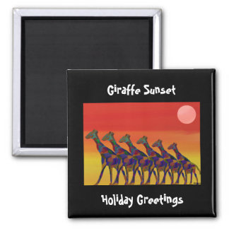 Giraffe Sunset Holiday Greetings Magnet