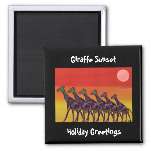 Giraffe Sunset Holiday Greetings Magnet