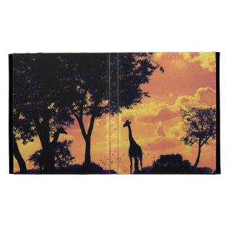 giraffe sunset ipad case
