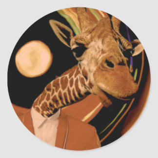 Giraffe (Tall) Classic Round Sticker