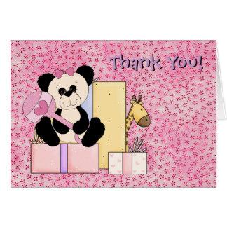 Giraffe Teddy Bear Baby Girl Shower Thank You Greeting Card