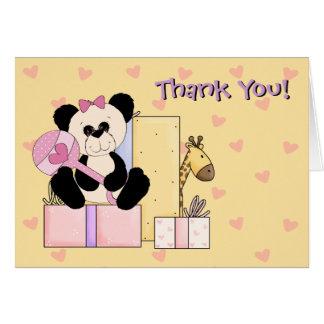Giraffe Teddy Bear Baby Girl Shower Thank You Greeting Cards