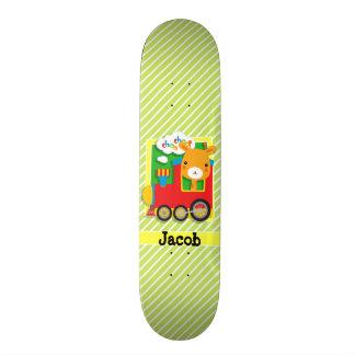 Giraffe Train; Lime Green & White Stripes 21.6 Cm Skateboard Deck