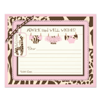 Giraffe Tutu Diapers Animal Print Advice Card