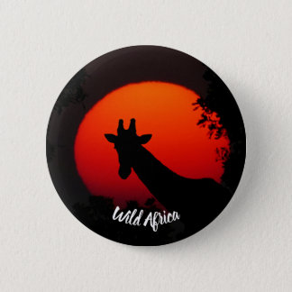 Giraffe versus Red Sun 6 Cm Round Badge