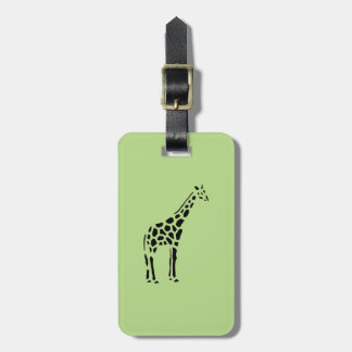 Giraffe Vintage Wood Engraving Luggage Tag