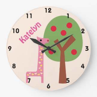 Giraffe Wall Clock personalized with any name