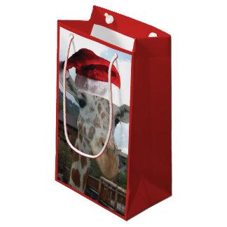 Giraffe Wearing a Santa Claus Hat for Christmas Small Gift Bag