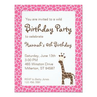 "Giraffe Wild Birthday Party Invitation (pink) 4.25"" X 5.5"" Invitation Card"