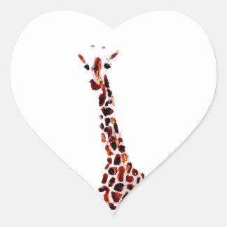Giraffe Wildlife Art Heart Sticker