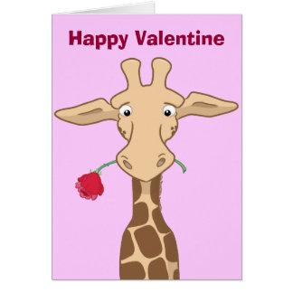 Giraffe with a Rose Valentine Card